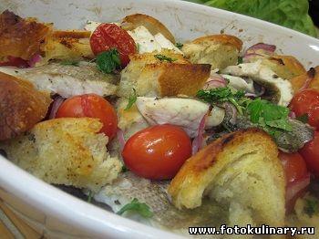 Рыба запеченная с овощами и травами