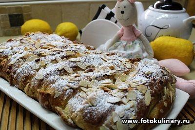 Праздничный сдобный пирог с кремом